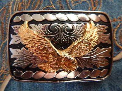 Handcrafted Silver / Black Usa Made Metal Belt Buckle Gold Colour Eagle Western
