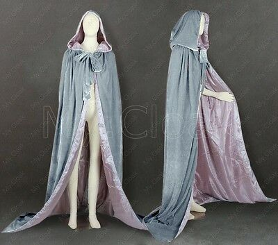 New Gray Velvet Silver silk Wedding Cape Halloween Hooded Cloak Coat Shawl S-6XL