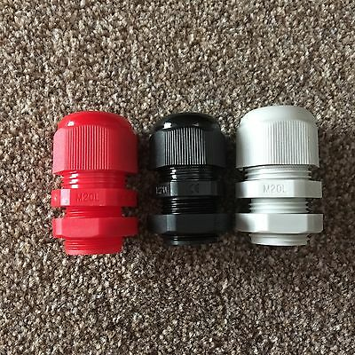 20mm IP68 Nylon Dome Cable Glands & Locknuts Red Black Grey