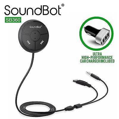 Soundbot SB360 Bluetooth 4.0 Car Kit Hands-Free Wireless Talking & Music Stre...