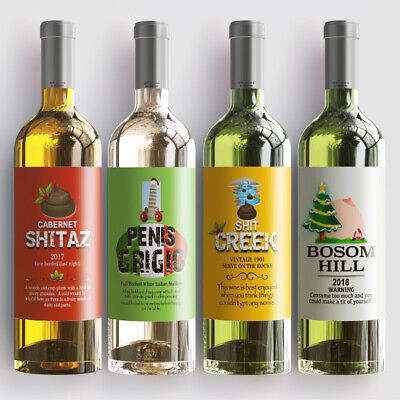 4 Christmas Funny Fun Wine Bottle Sticky Labels Birthday Party Gift Waterproof