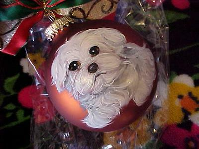Maltese Puppy Handpainted Glass Christmas Ornament Realistic!!