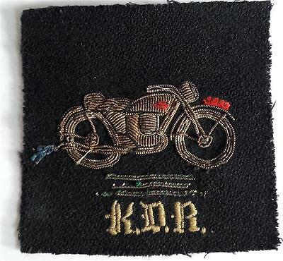 A Vintage Gold Bullion Wire Embroidered Motorcycle Patch K.d.r. Excellent Qualit