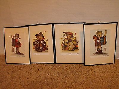 Lot of 4 Old postcard  Vintage Hummel Prints Framed