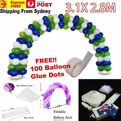 3.1x 2.8M Balloon Arch  Stand Pot Kit Clip Connecters  Adjustable Wedding Party