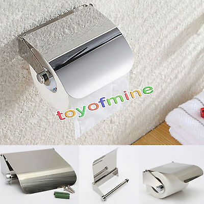 Bathroom Wall Mounted Stainless Steel Toilet Roll Paper Holder with Cover