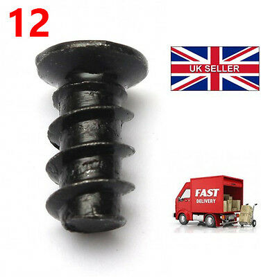 Pack of 12 Black Computer PC Case Fan Mounting Screws - 10mm Length