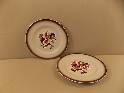 """Metlox/Poppytrail """"Red Rooster"""" 2 Salad Plates"""