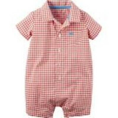 NWT Carter's Baby Boy's GINGHAM Plaid Checkered ROMPER NWT
