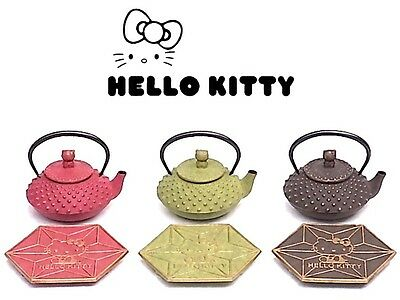 Hello Kitty Nanbu Iron Tea Pot x Coaster 0.35L SET Kettle red Dark brown Green