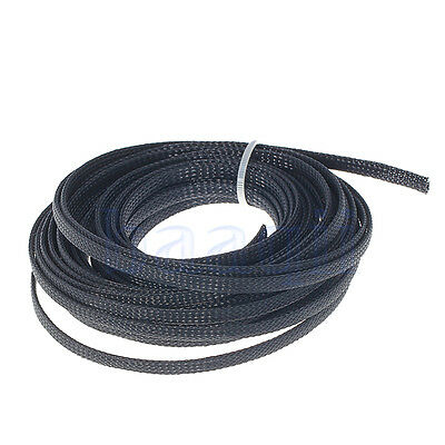 10M 6mm Braided Sleeving - Braid Cable Wiring Harness Loom Protection Black DA