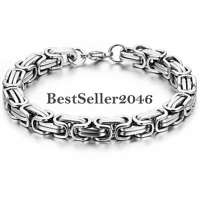 Mens Silver Stainless Steel Square Mechanic Byzantine Link Chain Bracelet Bangle