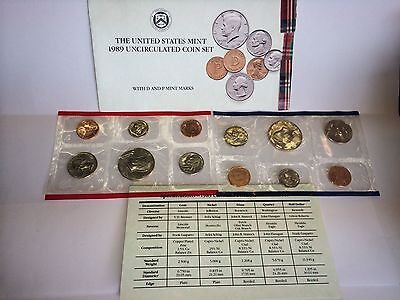 1989 United States Mint Uncirculated Coin Set D & P Mints COA 12 Coins
