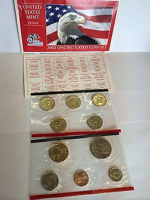 2003 United States Mint Uncirculated Coin Set Denver Mints COA 10 Coins