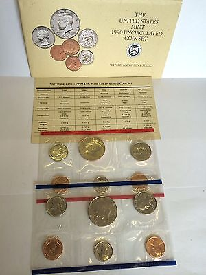 1990 United States Mint Uncirculated Coin Set D & P Mints COA 12 Coins