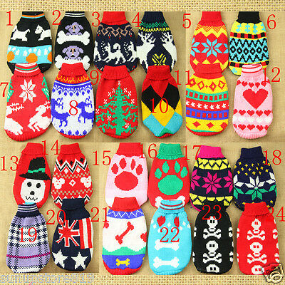Winter Pet Christmas Sweater Puppy Dog Cat Clothes Striped knitwear Coat Apparel
