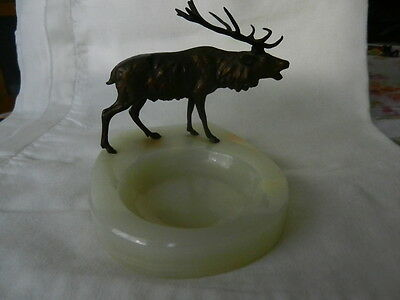 Antique Rare white Onyx Ashtray/Tray/Plate with Austrian Bronze Deer
