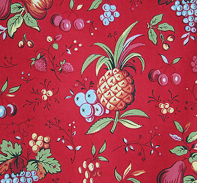 vintage 1950s French fruit & floral print cotton interiors fabric