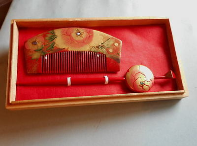 A Set of Comb and Kanzashi* Very Beautiful Peomy Flower in original box 31g*18-2