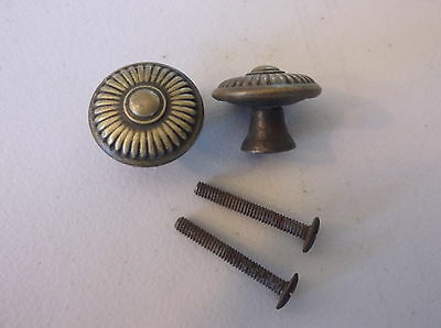 (2) Antique /  Vintage Furniture Pulls / Knobs--Original Screws Included
