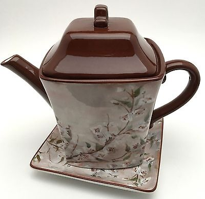 Certified International Cherry Blossom Tree Teapot And Canape Plate