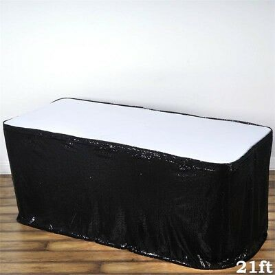 21 ft Black SEQUIN TABLE SKIRT Wedding Party Catering Trade Show Banquet