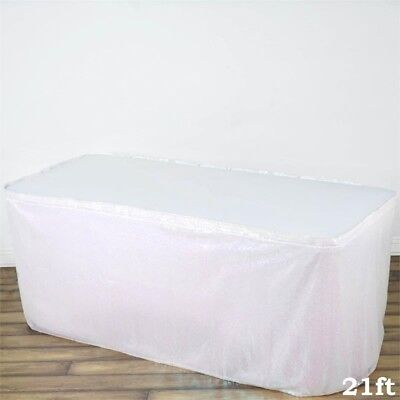 21 ft White SEQUIN TABLE SKIRT Wedding Party Catering Trade Show Banquet