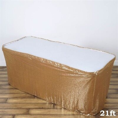 21 ft Gold SEQUIN TABLE SKIRT Wedding Party Catering Trade Show Banquet