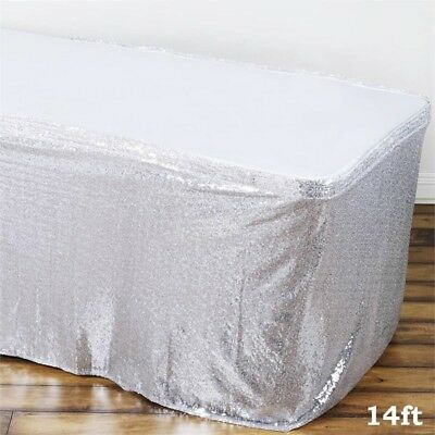 14 ft Silver SEQUIN TABLE SKIRT Wedding Party Catering Trade Show Banquet