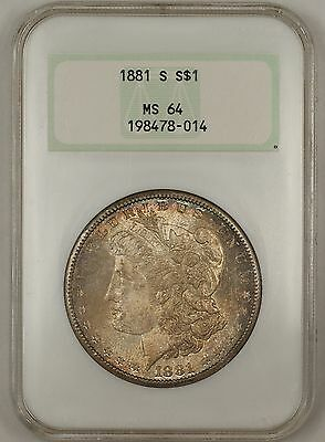1881-S Morgan Silver Dollar $1 Coin NGC MS-64 Toned Old Holder (Te)