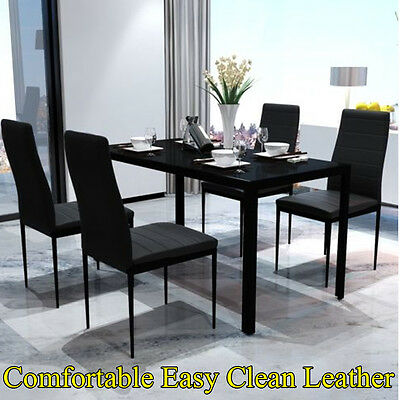 Contemporary Dining Set with Table and 4 Chairs Kitchen Furniture tempered glass