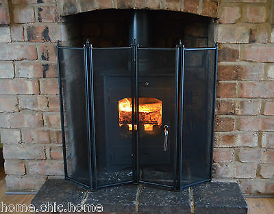 "Black Fire Guard, Regency 4 fold Fire Screen H26""(66cm)"