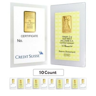 Lot of 10 - 2 gram Credit Suisse Statue of Liberty Gold Bar .9999 Fine (In Assay