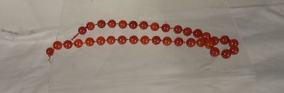 Antique Chinese Carved Carnelian Bead Necklace Agate 14k Gold Bracelet