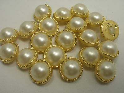 New 10 White plastic Imitation Pearl Buttons w gold trim sizes 5/8,1/2, 7/16 #BN