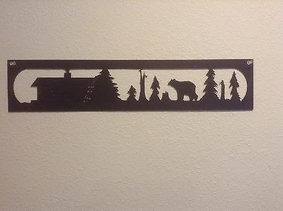 Bear, Trees And Cabin Silhouette Metal Wall Art
