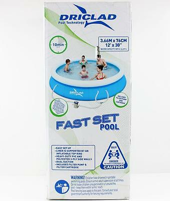 Driclad Above Ground Inflatable 12ft Fast Set Pool 366cm x 76cm New