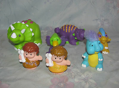 Fisher Price Little People Dinosaurs Lot - 5 Dinos, 2 Figures - Triceratops +