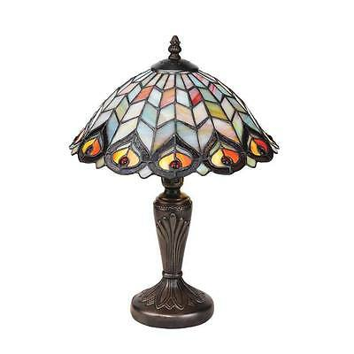 Tiffany Style Green Peacock Feathers Stained Glass Table Lamp Vintage New