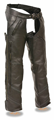Mens Motorcycle Thermal Lined Leather Chap W/reflective Piping Long Vents