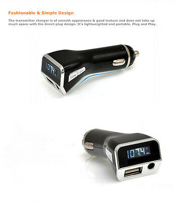 LCD Car FM Transmitter Cigarette Lighter MP3 Player USB Charger AUX Handsfree US