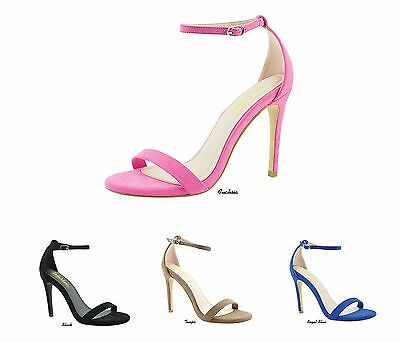 NEW Women Micro Suede Open Toe Ankle Strap Stiletto High Heel Pumps Shoes