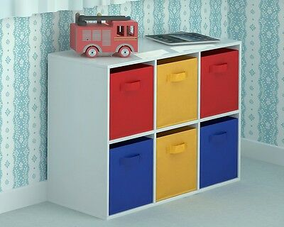 Toy Storage Unit Kids Chest of 6 Canvas Drawers for Children's Red Yellow Blue