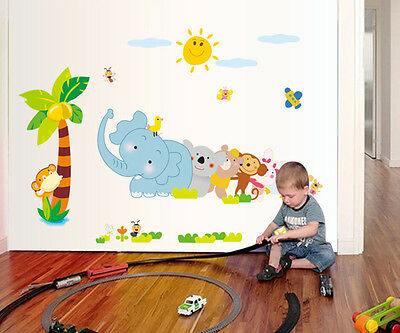 wand tattoo sticker wandaufkleber tier zoo bunt baby. Black Bedroom Furniture Sets. Home Design Ideas