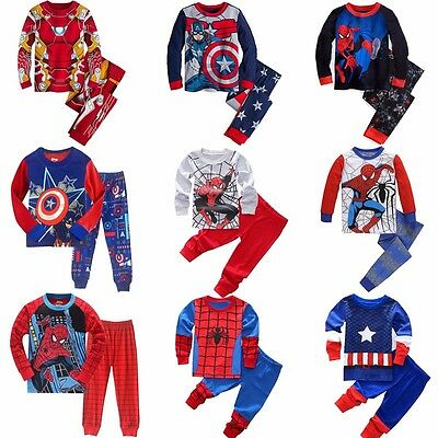 Baby Toddler Boys Avengers Pajamas pjs T-shirt Pants Set Sleepwear Size 2T-7