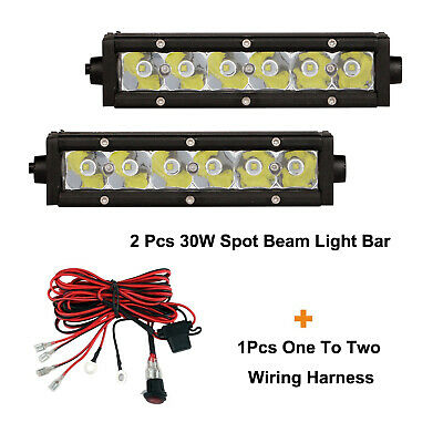 2PCS 30W 7inch Single Row Spot Beam LED Light Bar+1set one-to-two Wiring Harness