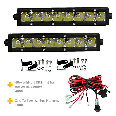 2PCS 9inch 40W Single Row Spot Beam LED Light Bar+1set one-to-two Wiring Harness