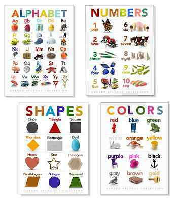4-pc Alphabet, Colors, Numbers, Shapes Charts - Childrens Learning Posters