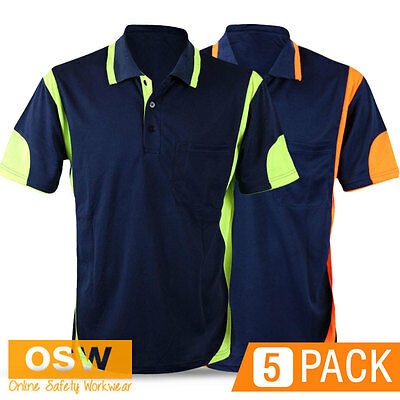 5 X Mens Womens Modern Cool Breathe Hi Vis Fluoro Panel Polo Office Work Shirts
