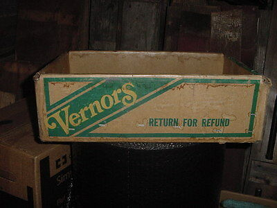 Vintage Vernors Soda Cardboard & Wire Box Crate Dated 4-83